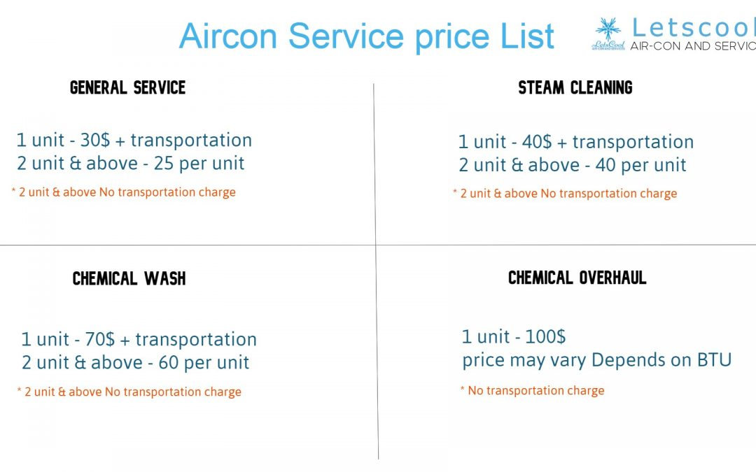 Aircon service price list